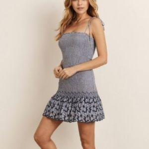Storia Blue Smocked Dot Dress
